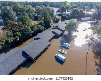 WILSON, NC - OCTOBER 09: An aerial view of flooding from Hurricane Matthew on October 9, 2016 in Wilson, NC. Matthew was responsible for 603 deaths and recorded maximum winds of 165mph.