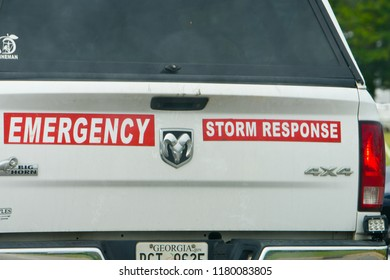 WILSON, NC - SEPTEMBER 13: An emergency response vehicle is seen prior to Hurricane Florence's arrival in Wilson, NC. (Photo by William Howard)
