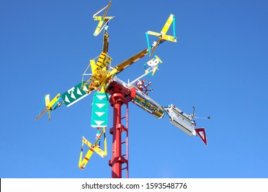 Wilson, North Carolina / USA - January 26, 2019: Whirligig sculpture by Vollis Simpson in the Whirligig park