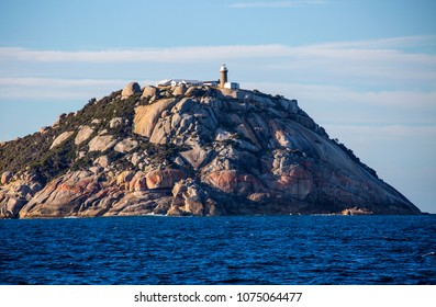 WILSON PROMONTORY, VICTORIA, AUSTRALIA - 07 APRIL 2018: The isolated Wilsons Promontory lighthouse sits on a spectacular granite headland at the most southern tip of the Australian mainland.
