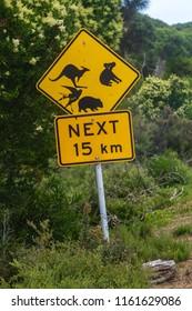 Wilson Promontory, Victoria, Australia - December 20 2017: Animal warning sign in Wilson Promontory area