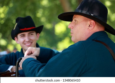 Wilsons Creek Battlefield Missouri - July 07 2018 Union soldiers participating in a reenactment of the civil war . Wilsons Creek Battlefield is a national battlefield located by Springfield Missouri.