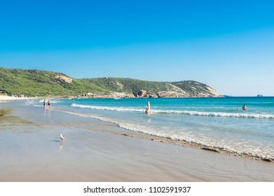 Wilsons Promontory, Australia - January 28, 2018: beachgoers on Squeaky Beach, a beach known for its unique squeaky sand.
