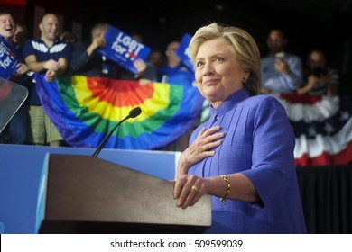 Wilton Manors, FL/USA - October 30, 2016:  Secretary Hillary Clinton talks to the standing room only audience in Wilton Manors.