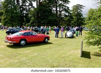 Wilton, Wiltshire / UK - August 10 2014: A 1965 LANCIA FLAMINIA SUPER SPORT ZAGATO 2.8L 3C classic car, at the Wilton House Classic & Supercar show, 2014