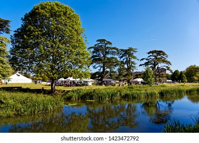 Wilton, Wiltshire / UK - June 7 2015: The River Nadder on a beautiful day at the Wilton Classic & Supercar Show 2015, Wilton House nr Salisbury, England