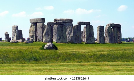 Wiltshire / England - May 22, 2018: The prehistoric monument Stonehenge in Wiltshire, England, May 22, 2018.