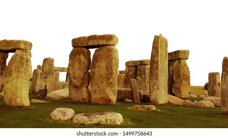 Wiltshire, England - November 6 2018: Stonehenge, a prehistoric monument, a British cultural icon, isolated on white background