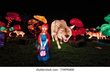 Wiltshire, England,UK- 12 December 2017:  Chinese Lanterns Festival of Light at Longleat Safari Park .  Longleat: UK's No. 1 Safari Park and every Christams they put on a show called Festival of Light