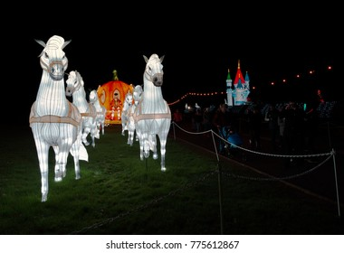 Wiltshire, England,UK- 12 December 2017:  Chinese Lanterns Festival of Light at Longleat Safari Park .  Longleat: UK's No. 1 Safari Park and every Christmas they put on a show called Festival of Light