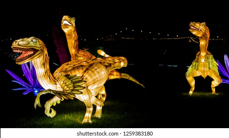 Wiltshire, England,UK- 13 December 2018: Festival of Light at Longleat Safari Park .Every Christams they put on a show called Festival of Light.