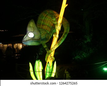Wiltshire, UK - December 15 2018: The Festival of Light at Longleat depicting a story of 2 young travellers travelling through time. Annual christmas light show.