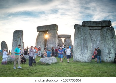 Wiltshire/England - June 20, 2017: During the annual summer solstice celebration at Stonehenge, visitors can get as close to the circle of stones as they like. The celebration lasts all night.