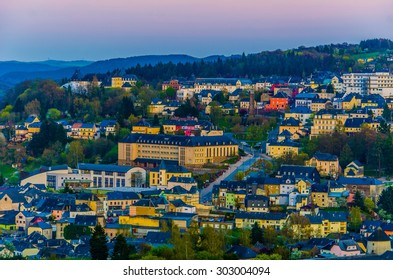 WILTZ, LUXEMBOURG, APRIL 6, 2014: Night view over Wiltz, Luxembourg. City is famous for sanctuary of our lady fatima, which is goal of many pilgrims.