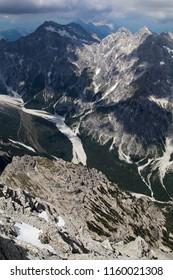 The Wimbachgries valley seen from the Watzmann ridge in the Bavarian Alps near Berchtesgaden