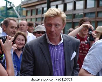 WIMBLEDON, ENGLAND - JUNE 24: Former tennis champion Boris Becker walks through the crowds at Wimbledon lawn Tennis Championship at Wimbledon, England on June 24, 2010.