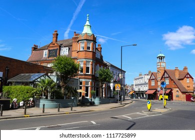 WIMBLEDON, LONDON, ENGLAND - June 21 2018: Wimbledon Village on a summer day and the popular Dog and Fox pub