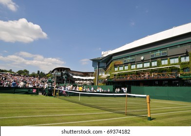 WIMBLEDON, LONDON - JUNE 23: Centre Court at Wimbledon Lawn Tennis Championships seen from Court 3 on June 23, 2009