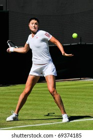 WIMBLEDON, LONDON - JUNE 23: Dinara Safina during in her 7-5 6-3 first round win over Lourdes Dominguez Lino at the Wimbledon Tennis Championships on June 23, 2009