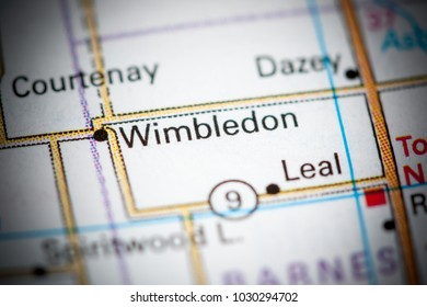 Wimbledon. North Dakota. USA on a map.