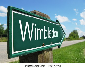 WIMBLEDON signpost along a rural road
