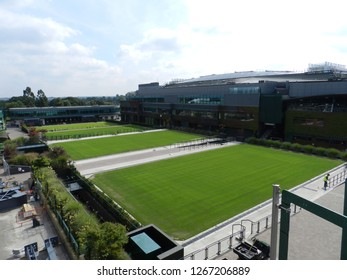 Wimbledon, United Kingdom. August 2016. Practice grass courts and Centre Court. All England Lawn Tennis and Croquet Club.