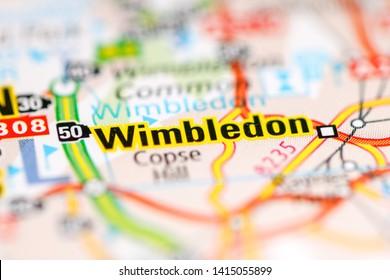 Wimbledon. United Kingdom on a geography map