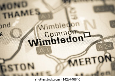 Wimbledon. United Kingdom on a map