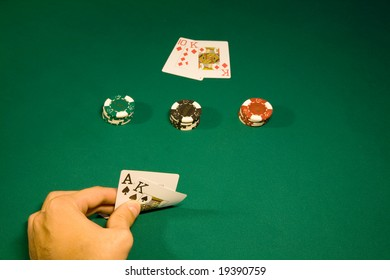 Win in the blackjack in casino with chips