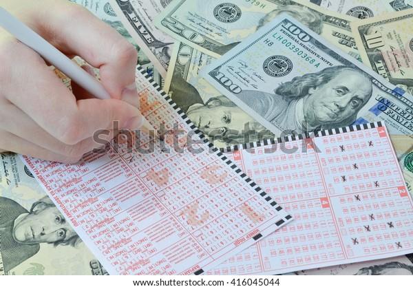 Win Lottery Lottery Ticket Ukrainian Written Stock Photo