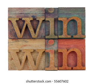 win win strategy or conflict resolution concept - vintage wooden letterpress type blocks, stained by color ink, isolated on white, square composition