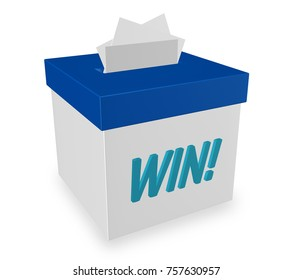 "win  words on suggestion box for great comments, input and ideas. ""3d illustration"""