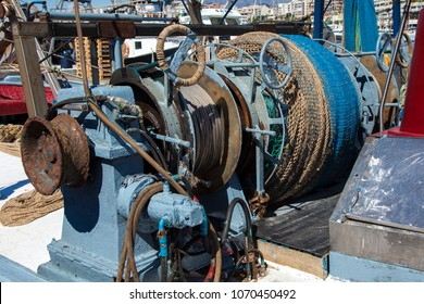 Winch on a fishing boat. Fisheries.