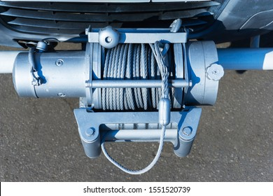 Winch truck. Attachments for emergency situations. Close-up.