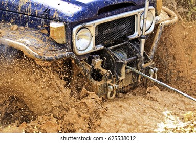 Winch used rescue to pull a 4x4 vehicle stuck in mud or any situation