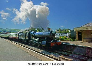 Winchcombe, The Cotswolds, Gloucestershire, UK, May 21st, 2019,  Gloucestershire Warwickshire Steam Railway, the 7820, Dinmore Manor arrives at Winchcombe Station on its way to Cheltenham Race Course.