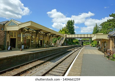 Winchcombe, The Cotswolds, Gloucestershire, UK, May 21st, 2019,  Gloucestershire Warwickshire Steam Railway, the railway station looking Soth on a beautiful summer day.