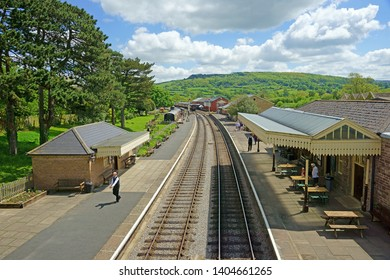 Winchcombe, The Cotswolds, Gloucestershire, UK, May 21st, 2019,  Gloucestershire Warwickshire Steam Railway, looking North towards Toddington on a blue sky summer day.