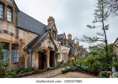 WINCHCOMBE, ENGLAND -MAY, 25 2018:  Dent's Almshouses in the Cotswold village of Winchcombe, built for Emma Dent of Sudeley Castle, by Sir George Gilbert Scott - England - United Kingdom