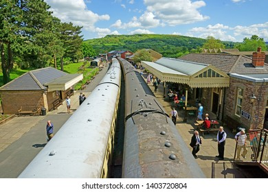 Winchcombe Station, The Cotswolds, Gloucestershire, UK, May 21st, 2019,  Gloucestershire Warwickshire Steam Railway, passengers joining and leaving the 7820 Dinmore Manor and the 7903 Foremarke Hall
