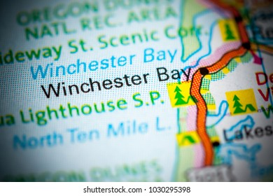 WInchester Bay. Oregon. USA on a map.