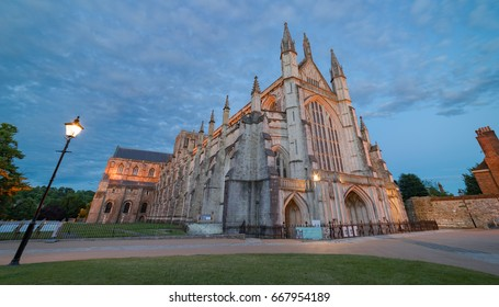 Winchester Cathedral captured at dusk on a warm summer evening