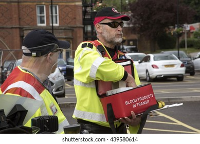 WINCHESTER HAMPSHIRE UK - JUNE 2016 - Transportation of urgent blood supplies by volunteer motorcycle riders between hospitals