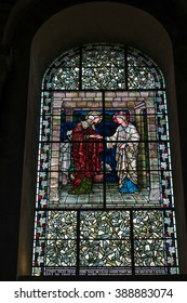 WINCHESTER, HAMPSHIRE/UK - MARCH 6 : Stained Glass Window in Winchester Cathedral in Winchester Hampshire on March 6, 2016