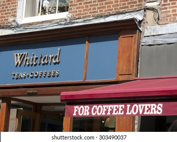 Winchester, High Street, Hampshire England - July 31, 2015: Whittard Teas and Coffee shop sign over store company established in Chelsea London in 1886