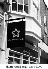 Winchester High Street, Hampshire, England - September 4, 2015: Superdrug chemists sign over premises, trades from over 850 stores across the UK and Ireland