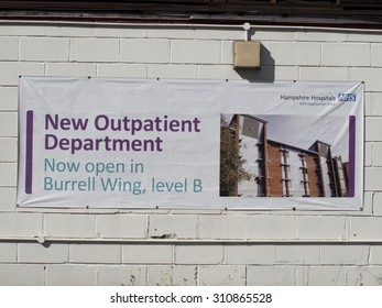 Winchester, NHS Royal Hampshire County Hospital, Hampshire, England - August 28, 2015: Public information sign announcing new outpatient department