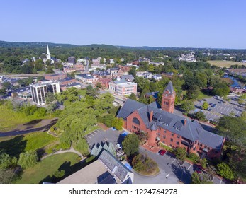 Winchester Town Hall aerial view at Winchester Center Historic District panorama in downtown Winchester, Massachusetts, USA.