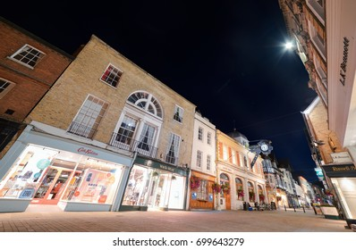 Winchester, UK. 18th August 2017. The streets are quiet in Winchester by the High Street on a warm Summer's evening.