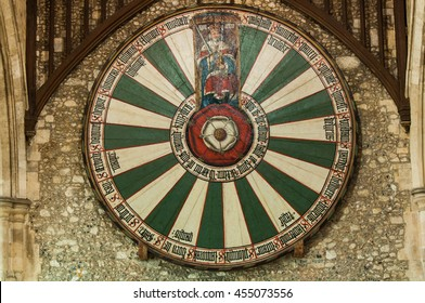 Winchester, UK - 7 march 2011: King Arthur's round table on the wall of the Great Hall